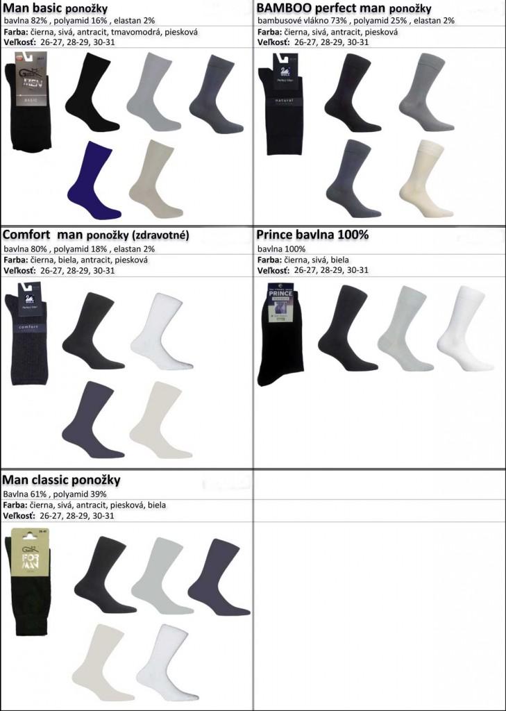 klasicke ponozky, cierna, biela telova